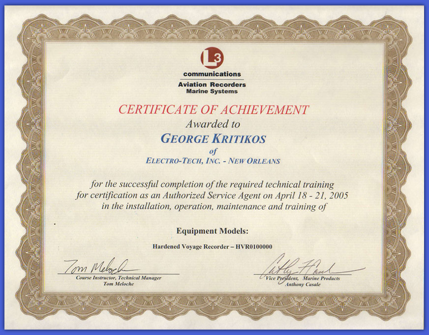 L3 communications Voyage Data Recorder (VDR) Certificate
